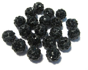 Black Polymer Clay Rhinestone Beads Pave Disco Ball Beads - Grade A 8mm