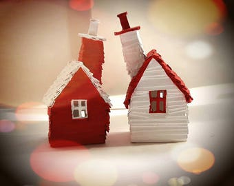 Swedish Microhouses - Scandinavian Inspired Handmade Recycled Cardboard House Models - Red and White with Edged Window Details-MADE TO ORDER