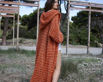 Orange red long knitted cardigan oversized chunky women's