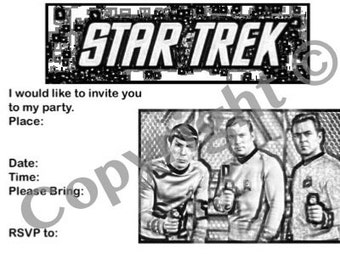 Star Trek invitation instant download party retro trekky Spock