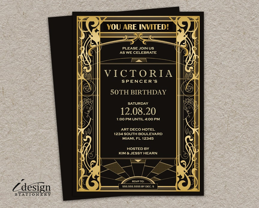Vintage Art Deco Great Gatsby Themed 50th Birthday Party