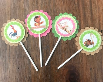 12 Personalized Disney Baby Moana Birthday Party Cupcake Topper, Food Pick or Party Decoration