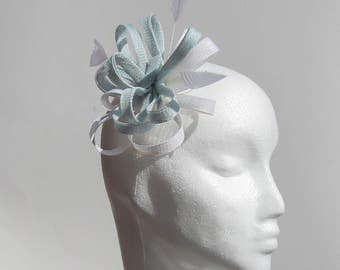 Blue and white fascinator, blue fascinator, white fascinator, fascinator, headwear, wedding wear, hats, mother of the bride hats, mini hats