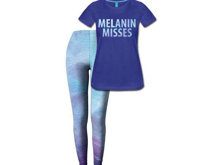 Melanin Misses Women's Fitted T-shirt/Leggings Combo Set - Royal Blue