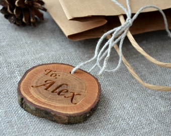 14 Personalized Wood Slice Gift Tag for Valentines Day Wedding Favor or Oak Gift Tag Rustic Wedding Gift Tag Engraved