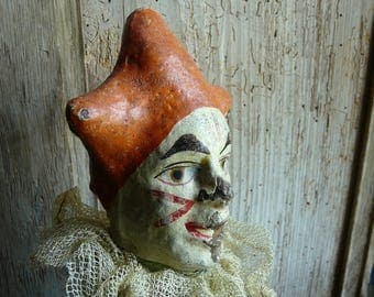 group of 3 antique French paper mache marionettes hand puppets