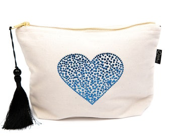 Cream Canvas Rhinestone Heart Bag, Cosmetic Bag, Toiletries Bag, Make-up Bag, Zipper Bag