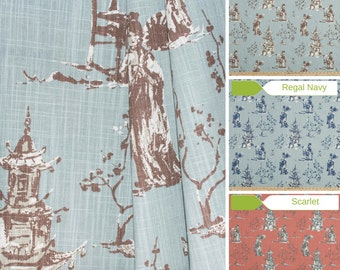 Toile Table Runner   Premier Prints Asian Toile   Asian Table Runner   Made  To Order
