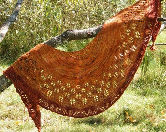 And Autumn Came Crescent Shawl Knitting Pattern, Shawl Knitting Pattern, Fall Shawl Pattern, Leaf Shawl Pattern,