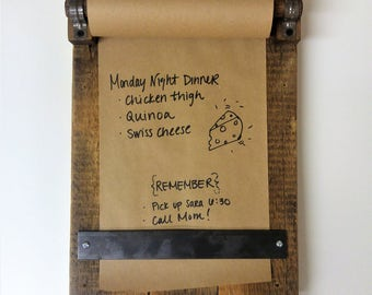 Reclaimed Wood Memo Board With Paper Included   Rustic Message Pad For  Notes And Lists
