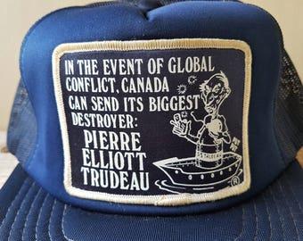 Very Rare PIERRE ELLIOTT TRUDEAU 'Destroyer' Original Vintage 80s Navy Mesh Trucker Snapback Hat Political Western Alienation Cap Yupoong