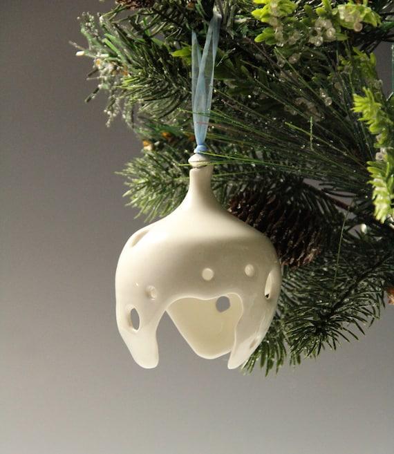 Ceramic Christmas ornament // Hand made porcelain ornament // Christmas tree white ornament // Christmas decoration