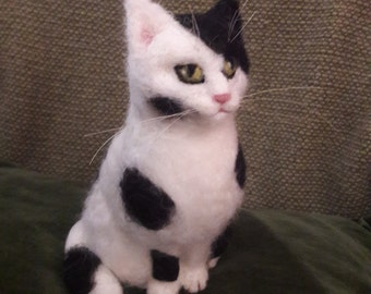 OOAK needle felted black and white cat