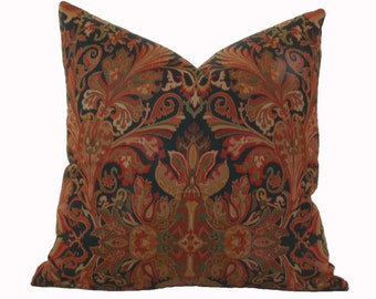 Burgundy tan black paisley pillow cover 18x18 20x20 22x22 24x24 26x26 Ralph Lauren Lakota paisley pillow Euro sham Lumbar 12x24 14x26 16x26