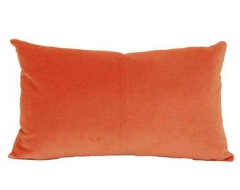 Orange velvet decorative throw pillow cover Orange Lumbar pillow 12x16 velvet pillow 12x18 Orange pillow cover