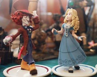 "Disney Mad Hatter and Alice 2pc Set Large 4"" Birthday Cake Topper PVC Figurines Set"