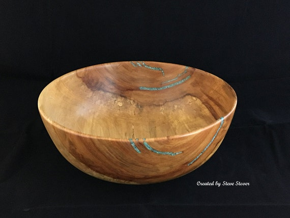 Decorative wood bowl centerpiece one of kind red