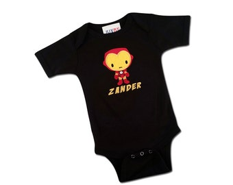 Baby Boy Superhero Birthday Bodysuit with Name