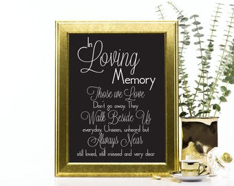 In Loving Memory Wedding Sign, Those We Love, Not Far Away, Walk Besides Me, Always Near, Missed, Printable PDF, Instant Download File