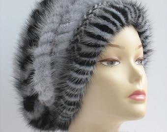 Blue Women's beret,Stylish fur beret,Fur mink hat Beret, Cable Knit Beret, Ladies winter beret,Accessories Hat,Women's Cable Knit hat Beret.