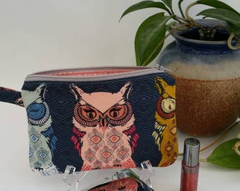 Wristlet // Zippered // Blue // Owls // Cosmetic bag // Clutch // Gadget bag // Coins & Cards // Phone // Casual