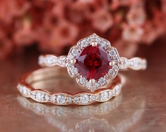Bridal Set Vintage Floral Ruby Engagement Ring And Scalloped Diamond Wedding Band In 14k Rose Gold