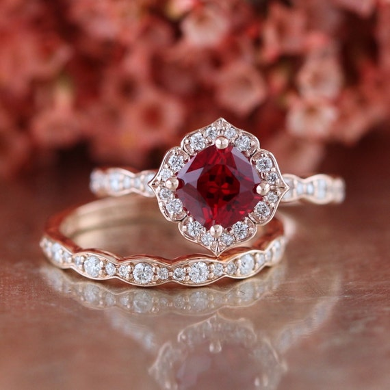 Bridal Set Vintage Floral Ruby Engagement Ring And Scalloped