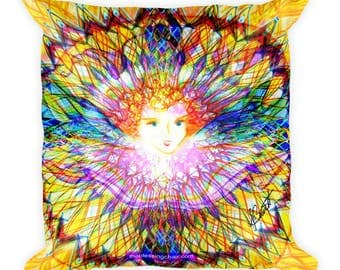 Angel Fire, Reiki, Healing, Colorful Pillow by deb barrett