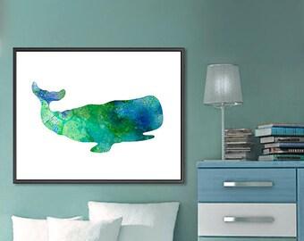 Whale nursery, ocean decor, art print watercolor, blue kids decor, whale illustration, nautical decor, baby boy art, sea life  - 185