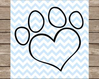 Dog svg Paw svg Heart svg cut file Love svg Pet svg SVG dxf Cricut Silhouette Cutting File Svg Designs Vinyl Heat Transfer