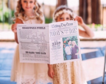 Wedding Newspaper Program - printed custom 4 page wedding newspaper