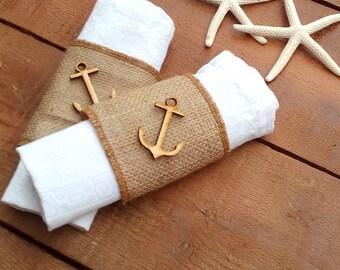 Napkin Holder - Burlap Napkin Holder - Nautical Napkin Ring Holder - Beach Wedding Napkin Holder  - Burlap Table Decor - Choose Qty