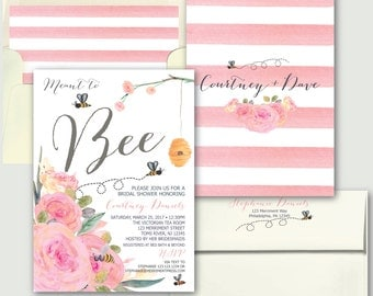 Bee Bridal Shower Invitation // Pink Bridal Shower Invitation // Stripes // Floral // meant to bee // Watercolor // MELBOURNE COLLECTION
