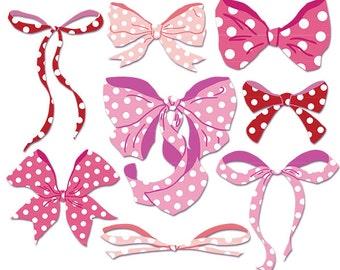 Hand Drawn Bow Clip Art, Bow Clipart, Polka Dot Bow Clip Art, Polka Dot Bows in Red and Pink Clip Art, Ribbon clip art
