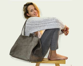 Sale!!! Large leather tote bag Leather tote GREY leather bag distressed leather tote