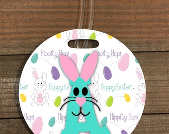 Easter Basket Tag with Bunny Initial