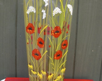 Hand painted crystal vase with poppies,daisies and Queen Anne's Lace