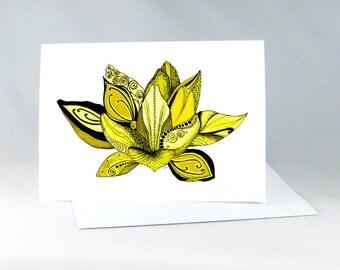 Spiritual Card, Lotus Flower, Lotus Yoga Card, Yoga Art Card, Yoga Art, Lotus Flower Drawing, Yoga Wall Art, Zentangle Lotus Art Card 1114GN