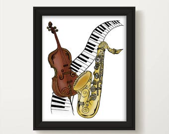 Music Lover Poster, Musical Instruments Painting, Keyboard Painting, Music Lover Wall Art, Cello Art, Saxophone Watercolor, Music Art P1033A