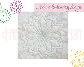 Quilt block, trapunto, embroidery Design, quilt mandala design, quilt block embroidery, quilt square, #825