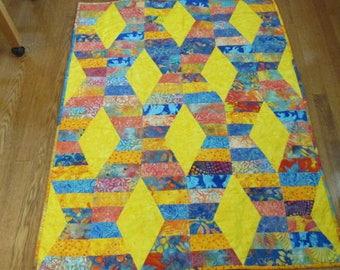 "Crib / lap / wheelchair quilt - Batik - yellow, blue, orange - FREE SHIPPING - 37"" x 47"""