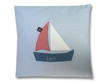 Name cushions, pirate boat, light blue, pillows, pillow with names, kids pillows