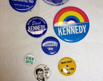 """Vintage Political Buttons from Edward """"Ted"""" M. Kennedy, from the sixites, seventies and eighties. (No coupons or gift certificates please)"""