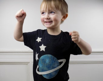 graphic tee, kids, childrens, toddler, shirt, clothing, hipster, trendy, handmade, stars, moon, space, planets,