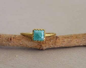 Crown Ring Gold, Square Ring, Gold Stone Ring, Blue Quartz Ring, Thin Ring, Blue Stone Ring, Unique Rings, Gold Ring, Gold Stone Ring