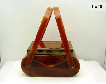 Vintage Wilardy lucite purse handbag 2 tier, cigarette case, make up, faux tortoise shell Stunning ! Super  Sale was 450 US