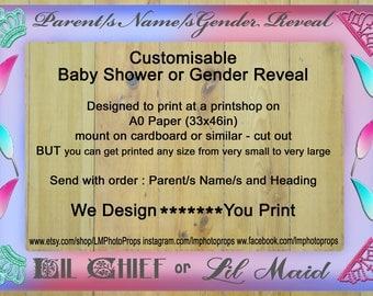 Baby Shower, Gender Reveal, Boy or Girl, Large Photo Frame Prop, PRINTABLE, diy DIGITAL DOWNLOAD, Customisable, Photo Frame File, Pink, Blue
