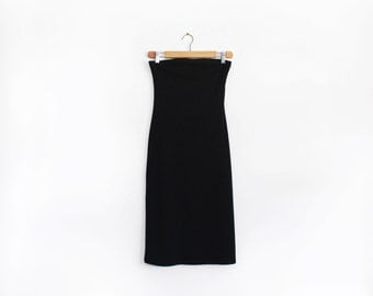 90s minimal body hugging black cotton strapless dress