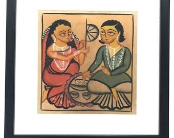 Kalighat Painting on Handmade Paper-3 (Framed)