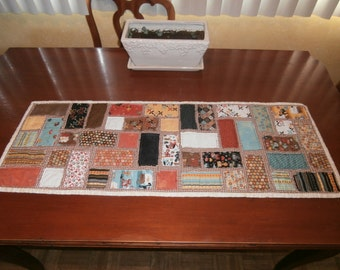 Table Runner - Table Topper - Frayed Blocks - Cutest Cat and Dog Fabric Quilt - Casual Decor - Children's Decor